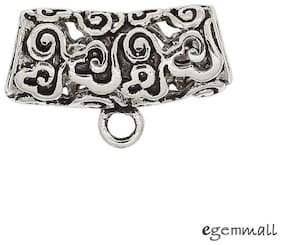 Antique Sterling Silver Art Textured Tube European Charm Pendant Connector 99244
