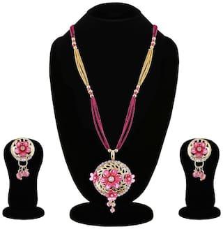 Apara Floral Pink Pendant Set for Women