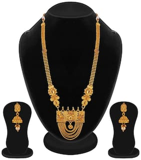 Apara Gold Plated Long Ball Chian Necklace Set for women