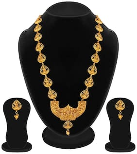 Apara Gold Plated Long Traditional Temple Necklace Jewellery Set for Women