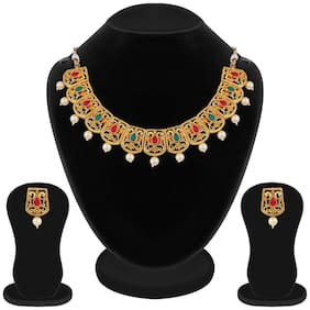 Apara Gold Plated Red and Green Necklace set with Pearl drop for women