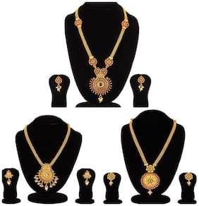 Apara Golden Long Haram Mala combo of 3 Necklace set with Austrain Dimond Kundan Pearl for Women