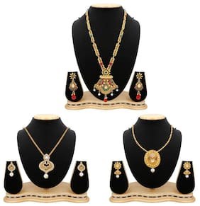 Apara Multicolour Long Haram Necklace and Pendant Set Combo For Women