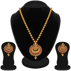 Apara Ruby Laxmi Temple Jewellery Necklace Set for Women