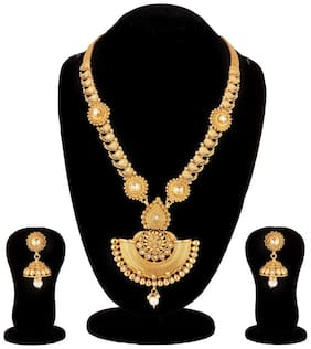 Apara  South Indian Mango Design  Long Haram Mala with Kundan  and American Diamond for Women