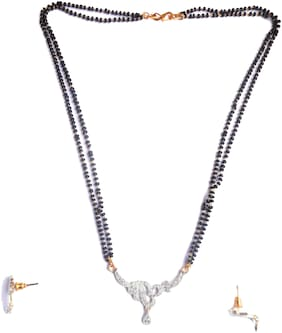 AR Black White Non-Precious Metal Designer Gold Plated American Diamond Mangalsutra Set for Women with Earrings