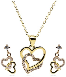 ARCADIO Forever Love Interlocked Heart Pendant Necklace and Earrings Set - ARJW1004GD
