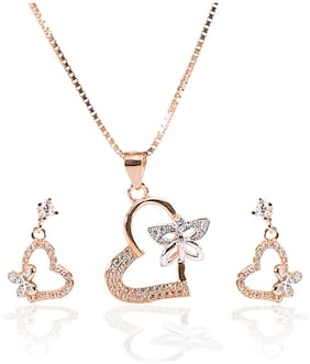 ARCADIO Valentine Heart with Fluttering Butterfly Pendant and Earrings Set - ARJW1003RG