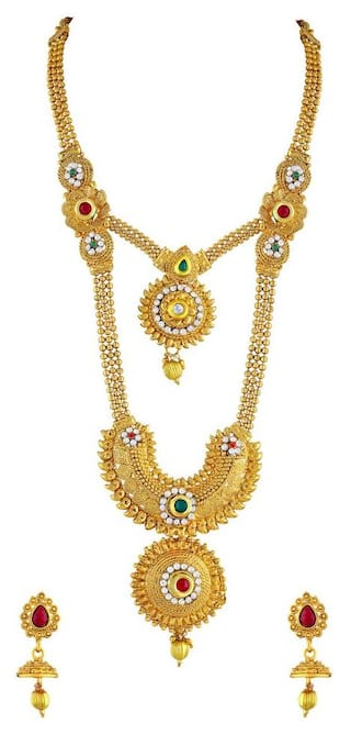 Buy Asmitta Enchanting Gold Plated Opera Style Necklace Set For ...