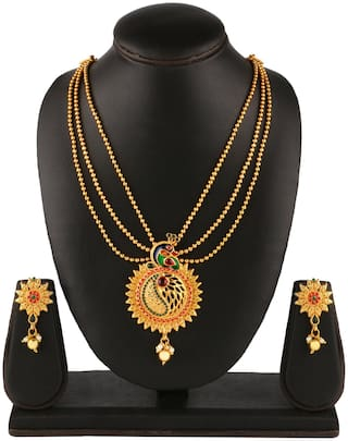 ASMITTA JEWELLERY Peacock Indpired meenakari Gold toned Multi String Necklace Set For Women