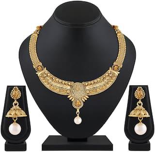 ASMITTA JEWELLERY Kundan Gold toned Necklace Set For Women