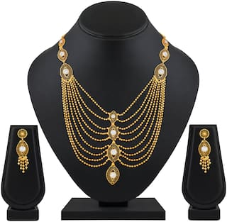 ASMITTA JEWELLERY Traditional  Gold Plated Multi String Necklace Set For Women