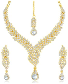 Asmitta Lavish Gold Plated Austrian Stone Necklace Set For Women