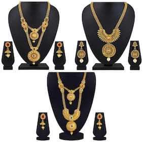 Asmitta Traditional Jalebi Design Gold Plated Set Of 3 Matinee Necklace Set Combo For Women