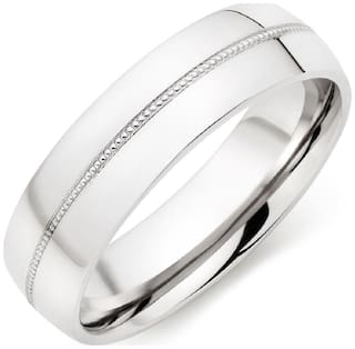 Asset Jewels Silver Real Diamond Ring/ Band For Men/Boys/Unisex