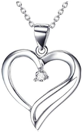 Asset Jewels 925 Sterling Silver Real Certified Diamond Heart Pendant/ Locket For Girls and Women (0.03 Ct)