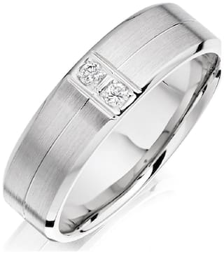 Asset Jewels Silver Real Diamond Band Ring For Men/ Boys