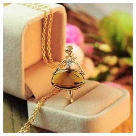 Popmode Ballet Dancing Girl Long Pendant Necklace Women Fashion Statement Floral Jewellery