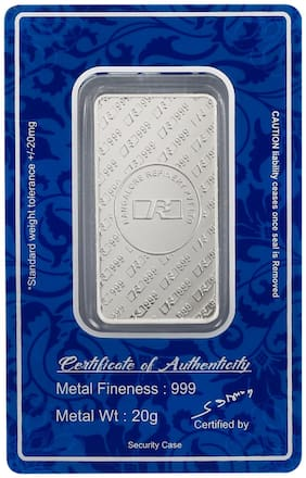 Bangalore Refinery 999 Purity 20 Gram Silver Bar