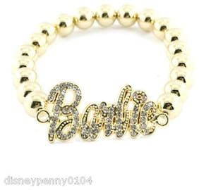 """BARBIE Clear Rhinestone Goldtone Stretch BRACELET-Celebrity Inspired-1 1/2"""""""
