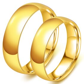Bazar India Hot  Gold Stainless steel jewelry Couple Wedding Rings pack of 2 for couples