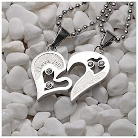 BAZAR INDIA hot sale couple jewelry stainless steel broken half heart pendant couple necklace