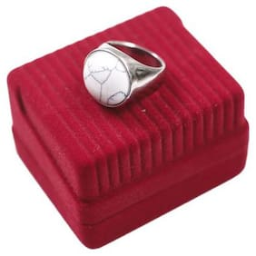 Beadnicks Heart Jewellery Stainless Steel Ring with White stone for Men and Women
