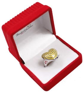 Beadnicks Heart Jewellery Stainless Steel Ring Yellow For Women