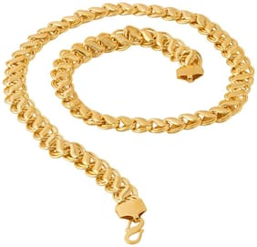 Beadworks Hand Made Gold Plated Chain for Men's(Chain-22)