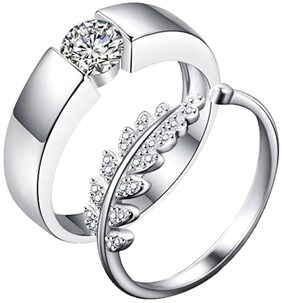 Beauteous Stunning Valentine Silver Plated Zircon Couple Rings