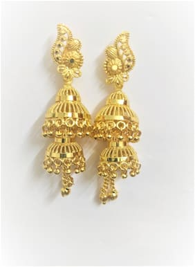Beautiful and stylish Partywear Gold Plated Jhumkas for Women & Girls