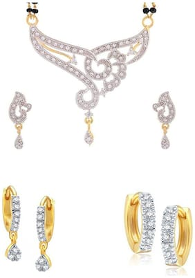Bhagya Lakshmi Genuine Women's Pride AD Stone Mangalsutra With Earrings For Women