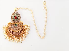 BIRDWARE Stylish Fancy Party Wear Jewellery & Traditional Handcrafted Oxidised Alloy Maang Tikka