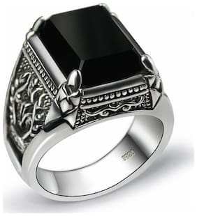 Black Stone Silver Ring (square)
