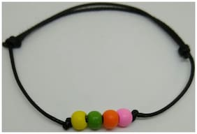 Black thread adjustable knot Anklet with colourful wooden beads