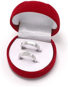 Blue Shine Adjustable Couple Ring for Valentine lovers in Silver plated