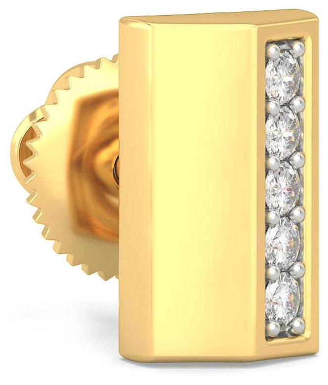BlueStone 14Kt Yellow Gold and Diamond Morde Earring For Him