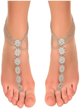 Boho Bead Tassel Toe Ring chain Anklet