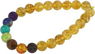 Brahmatells Yellow Sapphire Stone With 7 Chakra Bracelet For Men & Women