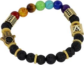 Brahmatells Lava Rock Bracelet With 7 Chakra & Charms For Men & Women