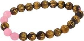 Brahmatells Tiger Eye With Rose Quartz Bracelet For Men & Women