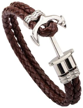 BROWN LEATHER ANCHOR SILVER BRACELET