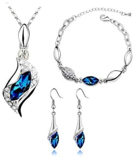 Caratcube Blue 18K White Gold Plated Austrian Crystal Horse Eye Shape Pendant Set with Earrings and Bracelet For Women (CTC - 20)