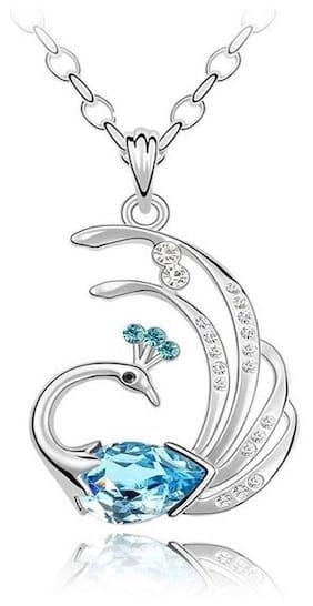 Caratcube Elegant Blue Austrian Crystal Peacock Shape Pendant For Women (CTC - 77)