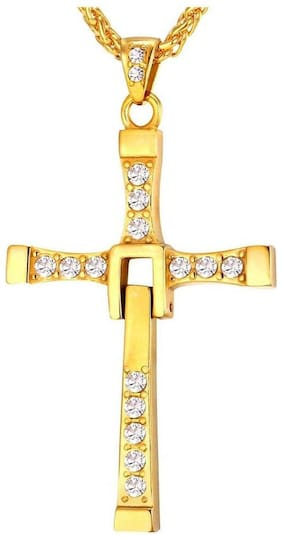 Caratcube Fast And Furious Vin Diesel Inspired Austrian Crystal Gold Cross Pendant For Men (CTC - 84)