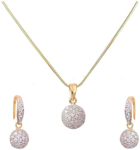 Cardinal American Diamond Pendant Necklace Set With Earring;Ring;Bracelet For Women/Girls