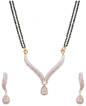 Cardinal American Diamond Fashion Jewellerry Latest Design Mangalsutra Necklace Pendant Set With Earring For Women