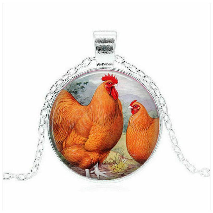 "CHICKEN HEN BIRD ANIMAL BLACK  pendant 20/"" Sterling Silver 925 necklace female"