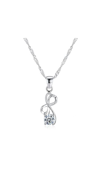 15e2236d0b042f Classic Elegant Style Zircon 925 Sterling Silver Necklace with Pendant