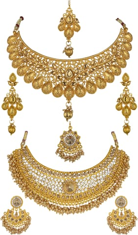 Gold;White Necklace Combo